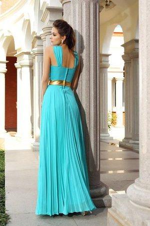 Plissiertes Reißverschluss Bodenlanges Abendkleid mit Empire Taille aus Chiffon BDKTYoN3V