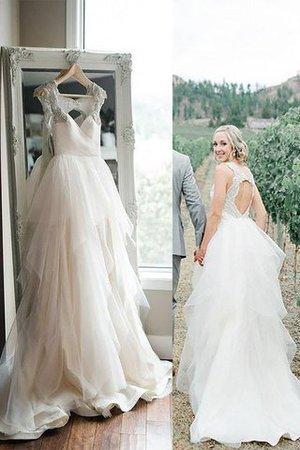 Breiter Träger Prinzessin Ärmellos Tüll Brautkleid mit Spaghettiträger - Bild 1