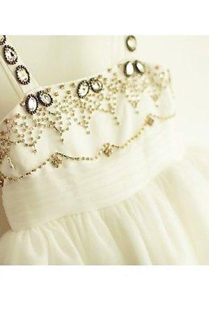 Empire Taille Ärmellos Wadenlanges Blumenmädchenkleid mit Perlen aus Tüll 4xXHV5