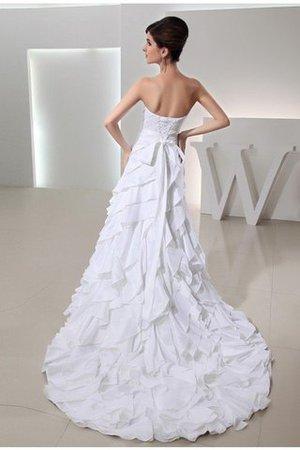 A linie Taft Ärmelloses Brautkleid mit Rücken Schnürung mit Perlen 00BNxYk