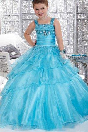Duchesse-Linie Empire Taille Organza Anständiges Blumenmädchenkleid ohne Ärmeln HoOuSi6