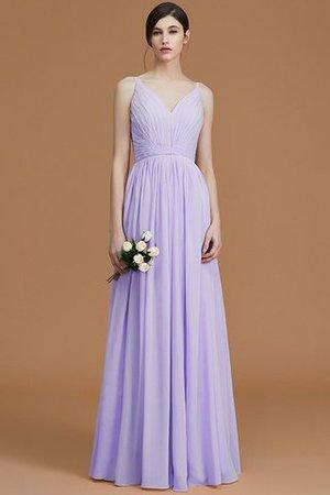 Prinzessin Chiffon V-Ausschnitt Ärmellos Brautjungfernkleid mit Rüschen yqfUvR