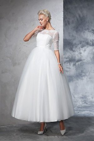 Duchesse-Linie Knöchellanges Sittsames Brautkleid mit Bordüre mit Reißverschluss I9Ne2