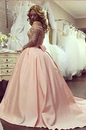 Schulterfreier Ausschnitt Duchesse-Linie Satin Normale Taille Bodenlanges Abendkleid 2aPwCo