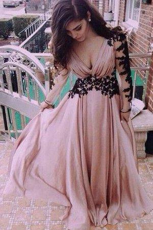 Normale Taille Prinzessin V-Ausschnitt Chiffon Abendkleid mit Applikation JvX8uq2