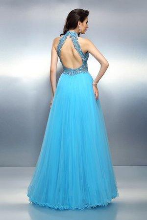 Hoher Kragen Perlenbesetztes Anständiges Abendkleid ohne Ärmeln mit Empire Taille h2hyhB9
