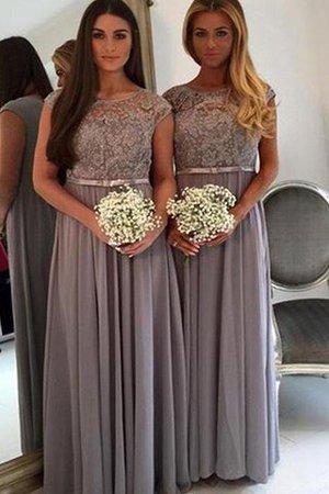 A-Line Ärmelloses Prinzessin Brautjungfernkleid aus Chiffon mit Schaufel Ausschnitt tbkx0