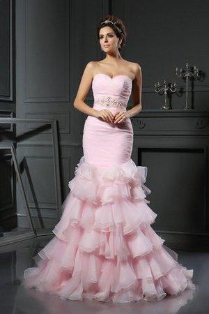 Meerjungfrau Stil Normale Taille Ärmelloses Perlenbesetztes Organza Brautkleid WjVra
