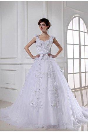 Duchesse-Linie Breiter Träger Empire Taille Ärmelloses Brautkleid mit Applike 24lWQUK7
