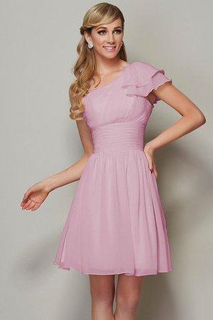 Prinzessin a linie Drapiertes Kurzes Brautjungfernkleid mit Spaghettiträger dklzN1o