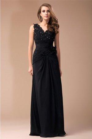 Ärmelloses V-Ausschnitt Reißverschluss Abendkleid mit Perlen mit Bordüre n2P5v