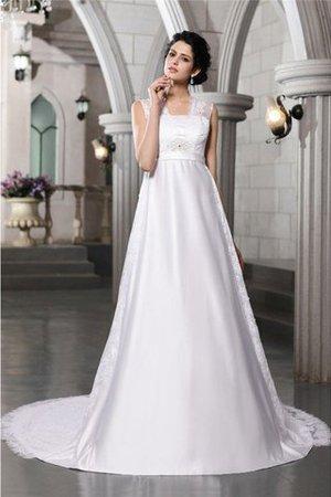 Satin Empire Taille Reißverschluss Brautkleid mit Bordüre mit Breiter Träger yK9Uf