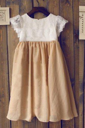 A-Line Schaufel-Ausschnitt Chiffon Sittsames Blumenmädchenkleid mit Bordüre 8RYIU