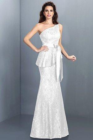 Ein Träger Meerjungfrau Stil Sittsames Brautjungfernkleid aus Satin mit Bordüre 0N4oyuto