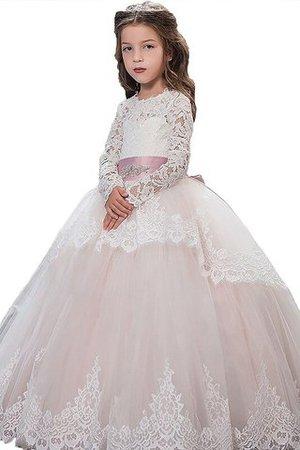 Tüll Langärmeliges Duchesse-Linie Bodenlanges Blumenmädchenkleid mit Blume F7sQ9Oyo2