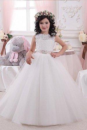 Duchesse-Linie Normale Taille Blumenmädchenkleid mit Schleife mit Blume - Bild 1