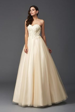 Prinzessin A Linie Perlenbesetztes Bodenlanges Abendkleid mit Rücken Schnürung FaYnwja7SA