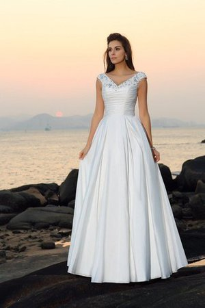 Beach Stil A-Linie Empire Taille Bodenlanges Brautkleid mit Applike