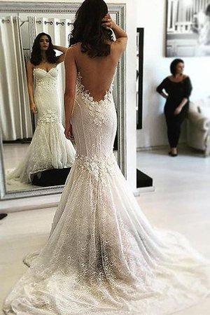 Herz-Ausschnitt Normale Taille Ärmelloses Brautkleid mit Sweep zug mit Bordüre aCozesc