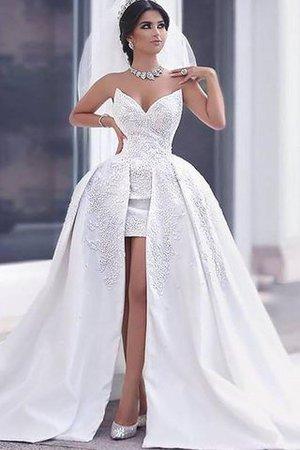 Normale Taille Herz-Ausschnitt Duchesse-Linie Perlenbesetztes Ärmelloses Brautkleid LlZha2B