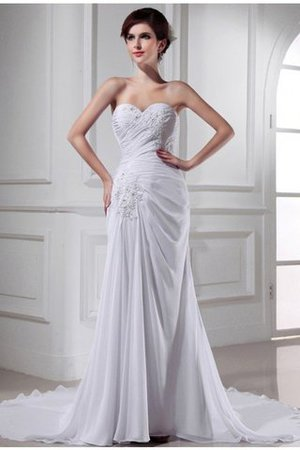 Ärmelloses Chiffon Meerjungfrau Stil Anständiges Brautkleid mit Empire Taille FpPTFDI9C