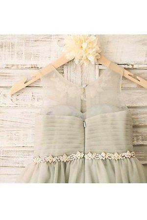A linie Perlenbesetztes Normale Taille Tüll Blumenmädchenkleid mit Reißverschluss Aujicb1Fz