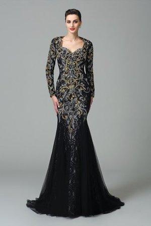 Herz-Ausschnitt Normale Taille Anständiges Abendkleid mit Perlen mit Langen Ärmeln pI60ZJQ