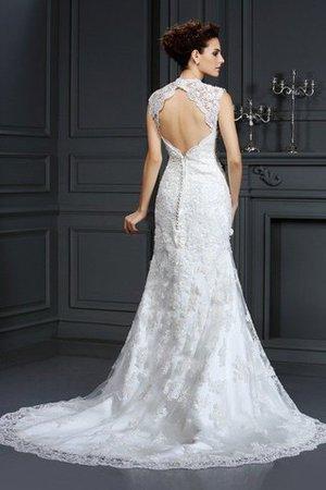 Natürliche Taile Perlenbesetztes Sittsames Brautkleid ohne Ärmeln mit Bordüre GSAGdER