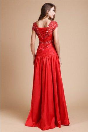 Schaufel-Ausschnitt kurze Ärmeln Perlenbesetztes Ärmellos Prinzessin Abendkleid fPbe88
