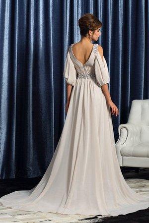 Ärmelloses A-Line Empire Taille Sittsames Brautmutterkleid mit V-Ausschnitt muR3m