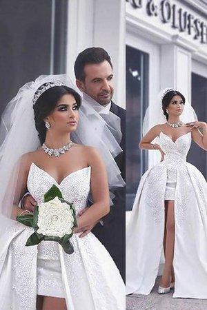 Normale Taille Herz-Ausschnitt Duchesse-Linie Perlenbesetztes Ärmelloses Brautkleid - Bild 1