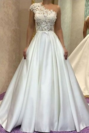 Satin Sweep Zug A-Linie Prinzessin Exquisit Brautkleid mit Bordüre