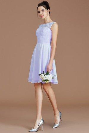 A-Line Boot-Ausschnitt Prinzessin Kurzes Brautjungfernkleid mit Bordüre QfUXAzaH