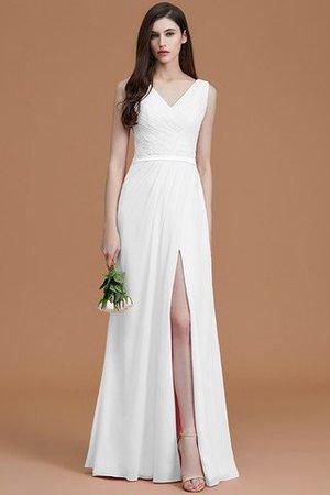 Gerüschtes Prinzessin Normale Taille Bodenlanges Brautjungfernkleid aus Chiffon b559YCI