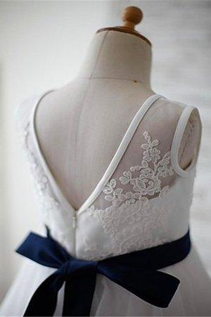 Tüll Prinzessin Ärmelloses A-Linie Bodenlanges Blumenmädchenkleid 5vNkeka1