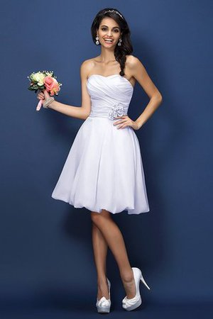 Prinzessin A-Line Mini Brautjungfernkleid mit Reißverschluss mit Blume FRDPYIpUw7