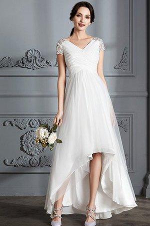 A-Line Normale Taille Tüll Prinzessin Rocklänge-asymmetrisches Brautkleid kvF6gYKr