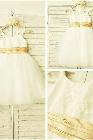 Reißverschluss A-Linie Prinzessin Wadenlanges Blumenmädchenkleid mit Blume th4fBut