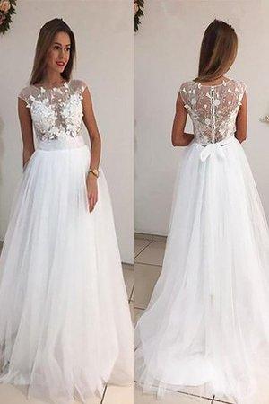 A-Line Prinzessin Tüll Schaufel-Ausschnitt Brautkleid ohne Ärmeln fPjoxm