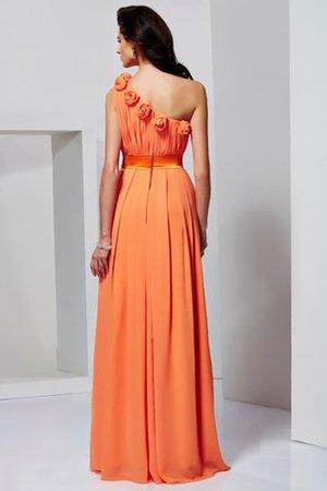 One Schulter Natürliche Taile A-Linie Bodenlanges Abendkleid aus Chiffon JWd8HHQ