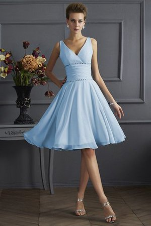 Natürliche Taile Drapiertes Plissiertes Prinzessin Mini Brautjungfernkleid XqU5sz
