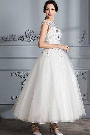 Ärmelloses Schaufel-Ausschnitt Tüll Duchesse-Linie Wadenlanges Brautkleid OjwPEkjMA