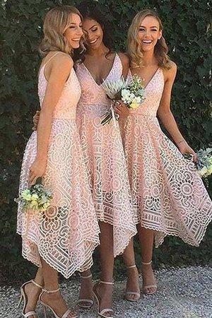 Prinzessin A-Linie Asymmetrisch V-Ausschnitt Brautjungfernkleid mit Bordüre th6B7RYG