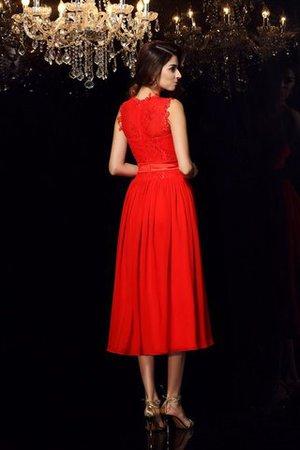 Reißverschluss Chiffon Empire Taille Abendkleid mit Hohem Kragen mit Schleife kEaZhGV5b