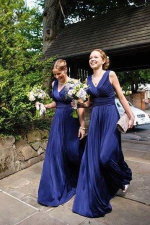 A-Linie Prinzessin Ärmelloses Bodenlanges Brautjungfernkleid mit Plissierungen 5Hwrrmog