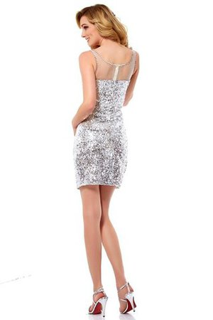 Schaufel-Ausschnitt Ärmelloses Normale Taille Paillette Abiballkleid mit Bordüre fuEfJ