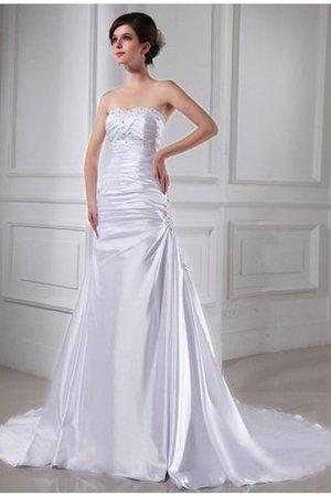 Kapelle Schleppe Prinzessin A-Linie Perlenbesetztes Brautkleid mit Applikation gj1GF