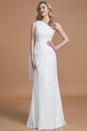 Chiffon Ein Schulter Enganliegendes Natürliche Taile Bodenlanges Brautjungfernkleid zl207X6R0