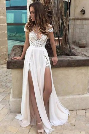 V-Ausschnitt Normale Taille A-Linie Bodenlanges Brautkleid mit Bordüre - Bild 1