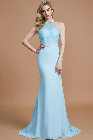 Chiffon Schaufel-Ausschnitt Normale Taille Sweep Zug Ärmelloses Brautjungfernkleid SBYnO8C5n
